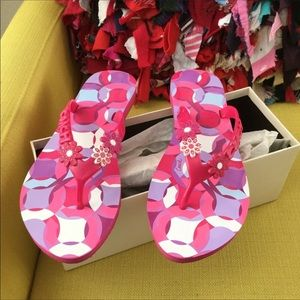 Coach Shoes - New in box coach pink flower flip flops size 8